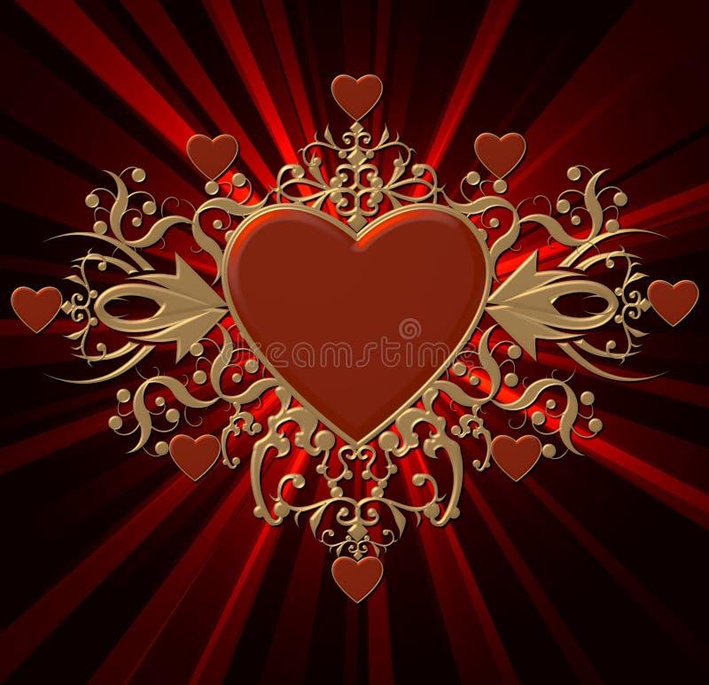 Download Golden Heart Shield stock illustration. Illustration of beams - 7946400