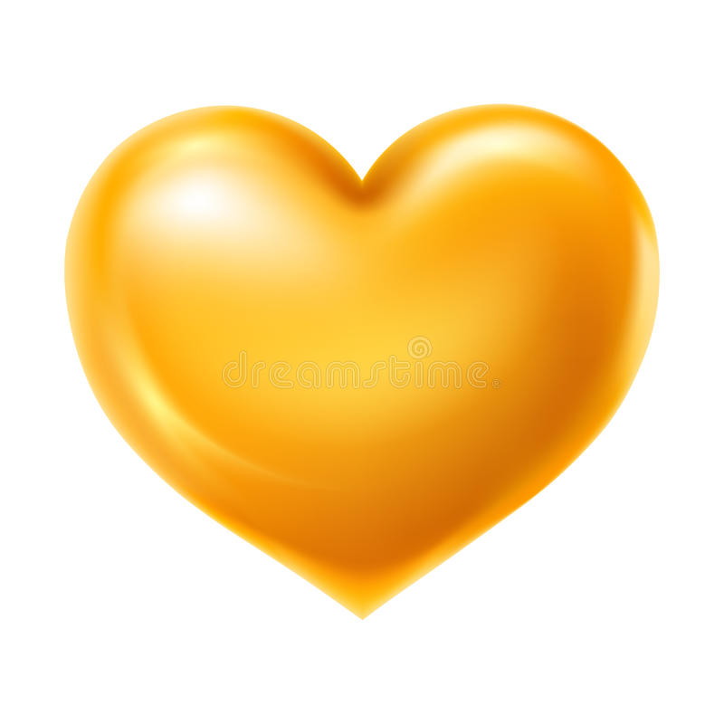 Golden heart. Shiny and glossy golden heart, symbol of love. Vector illustration, isolated on white background vector illustration