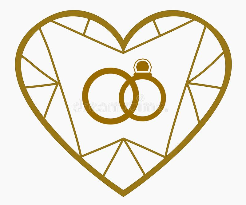 Golden heart and wedding rings stock photo