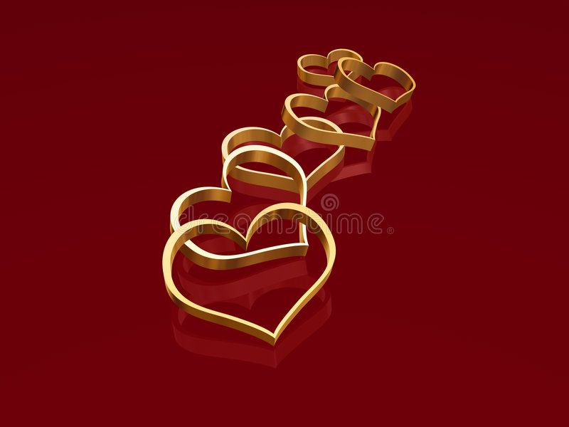 Golden hearts 2. 3d golden hearts over red background with reflection stock illustration