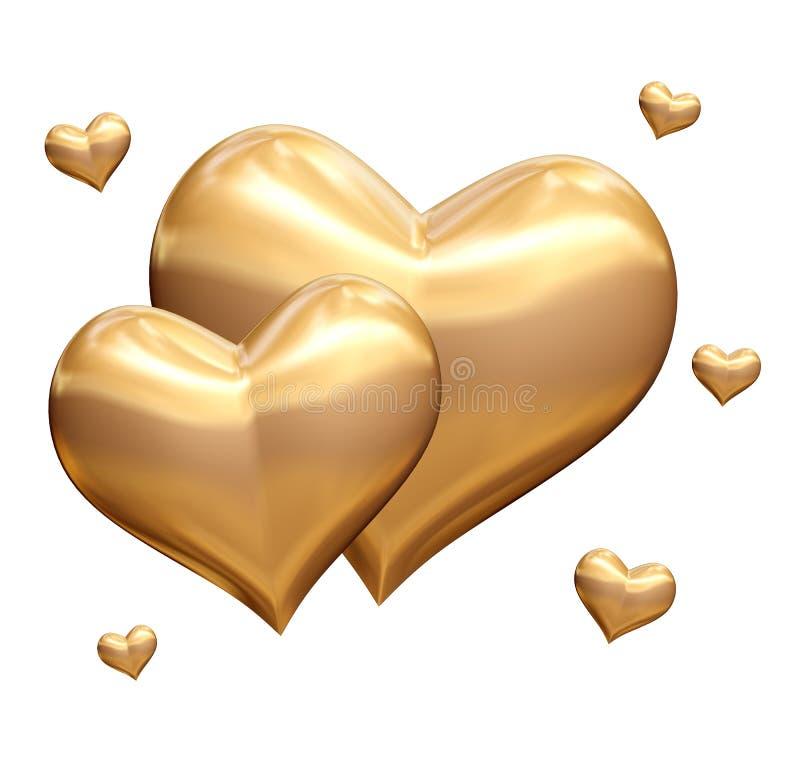 Free Golden Hearts 3d Stock Photo - 23283120