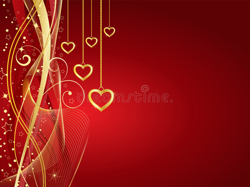 Download Golden hearts stock vector. Image of valentine, vector - 7619026