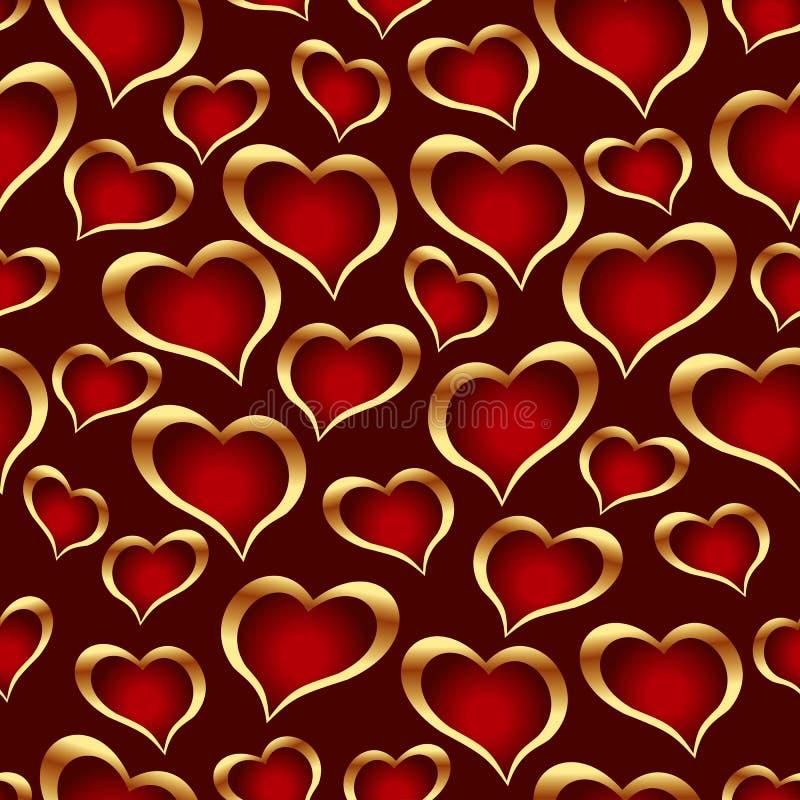 Golden hearts background. stock illustration