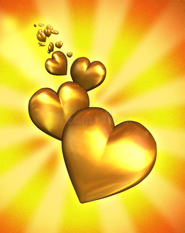 Golden Hearts - with clipping path. 3D render of several golden hearts stock illustration
