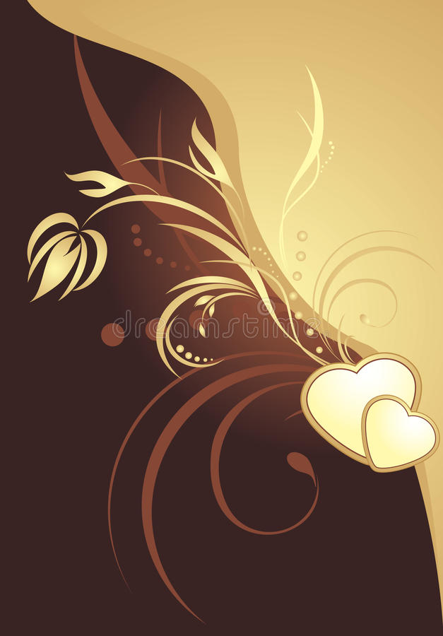 Download Golden Hearts With Decorative Sprig. Card Stock Vector - Image: 14684466