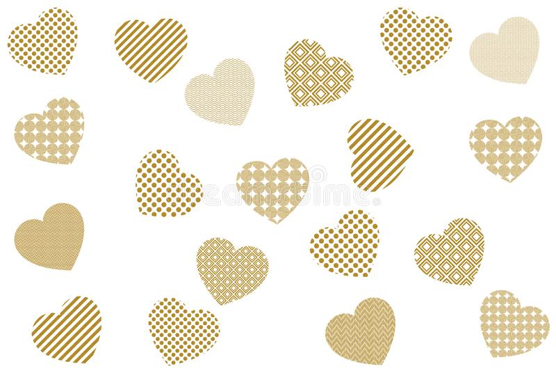 Golden hearts love and romance. Abstract art  background decoration decoration design golden hearts love ornament pattern romance texture wallpaper white stock illustration