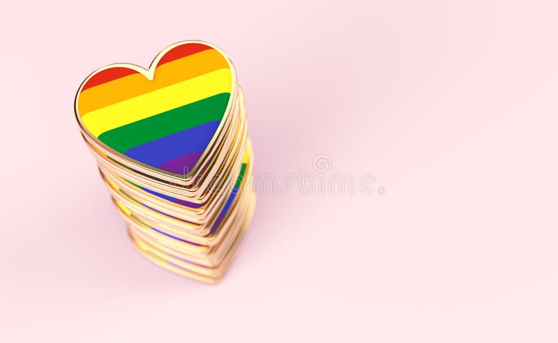 Golden hearts with rainbow flag inside stack or pile. Gay pride, LGBT, bisexual, homosexual symbol concept. Isolated on pastel. Pink background with copy space vector illustration