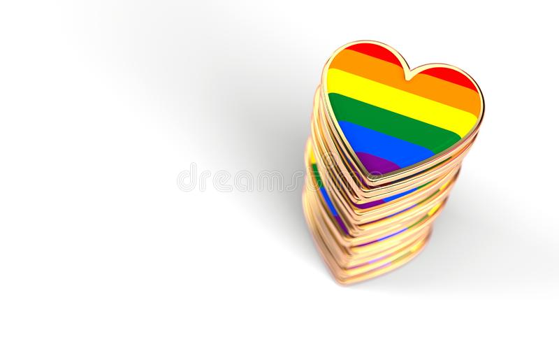 Golden hearts with rainbow flag inside stack or pile. Gay pride, LGBT, bisexual, homosexual symbol concept. Isolated on white royalty free illustration