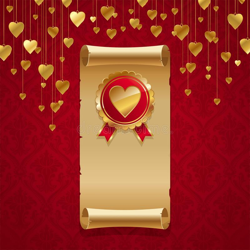 Golden hearts on red. A background of golden hearts on a red background vector illustration