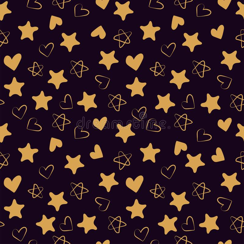 Golden hearts and stars seamless pattern. Fashion design print. Design elements for wedding, kid`s birthday or Valentine`s day. Hand drawn doodle repeating stock illustration