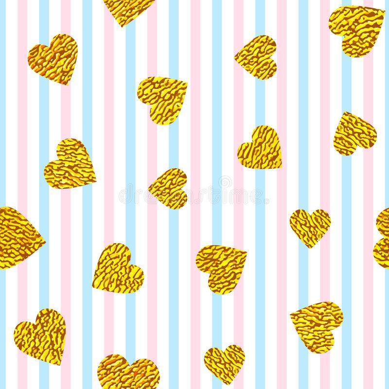 Golden hearts on striped background royalty free illustration