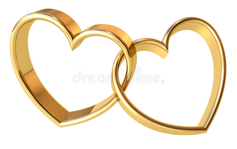 Golden hearts. Valentines golden hearts background. Power of Love royalty free illustration