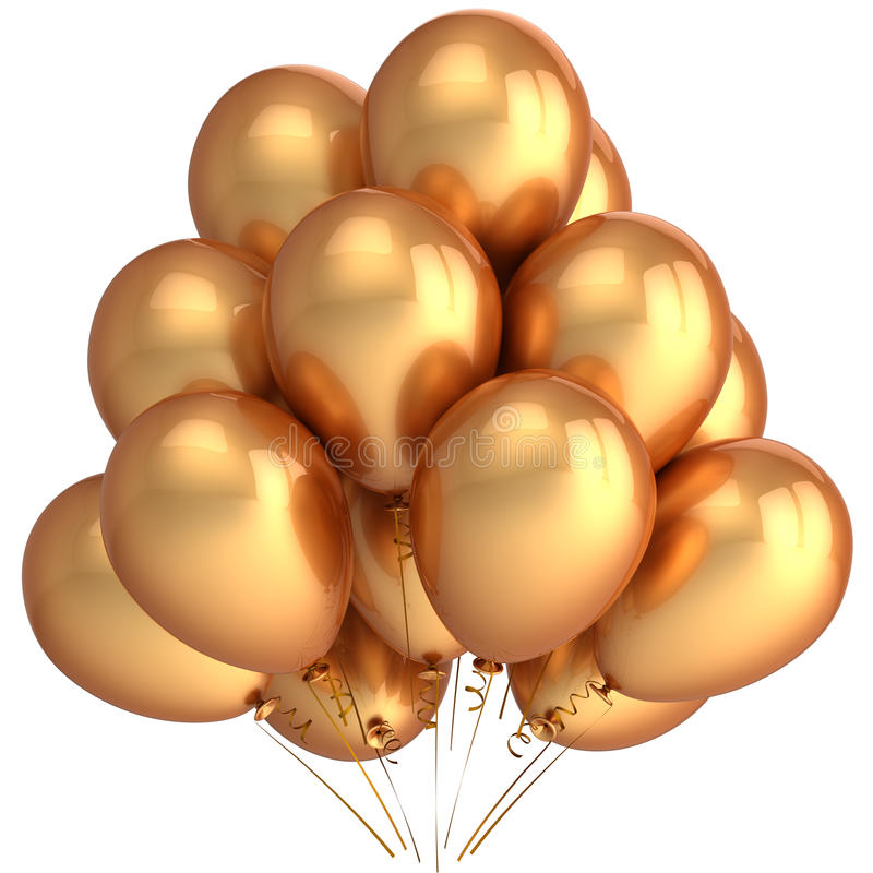 Golden helium balloons (Hi-Res) stock photography