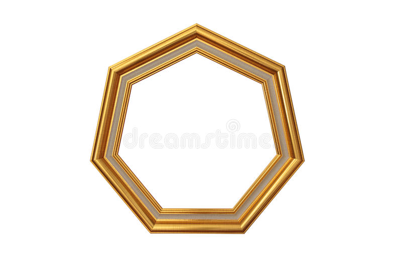 Golden heptagon picture frame royalty free stock image