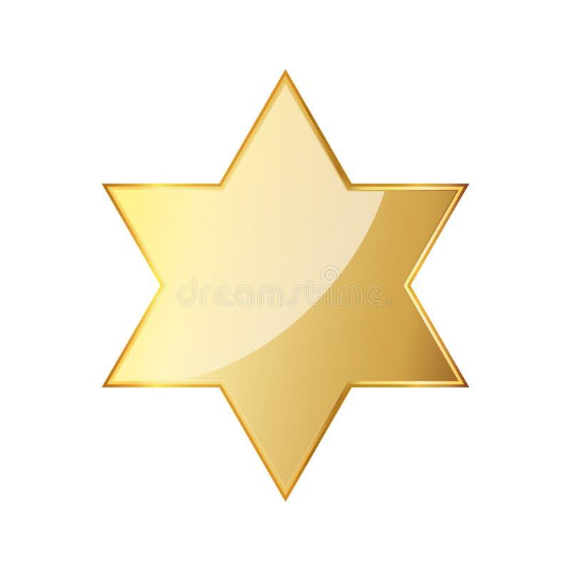 Golden hexagonal star icon. Vector illustration. Glossy golden star isolated on white background. Star of David vector illustration