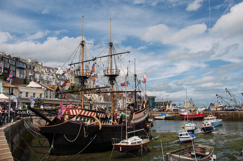 The Golden Hind in Brixham Harbour. The Golden Hind was an English galleon best known for her circumnavigation of the globe between 1577 and 1580, captained by royalty free stock photos