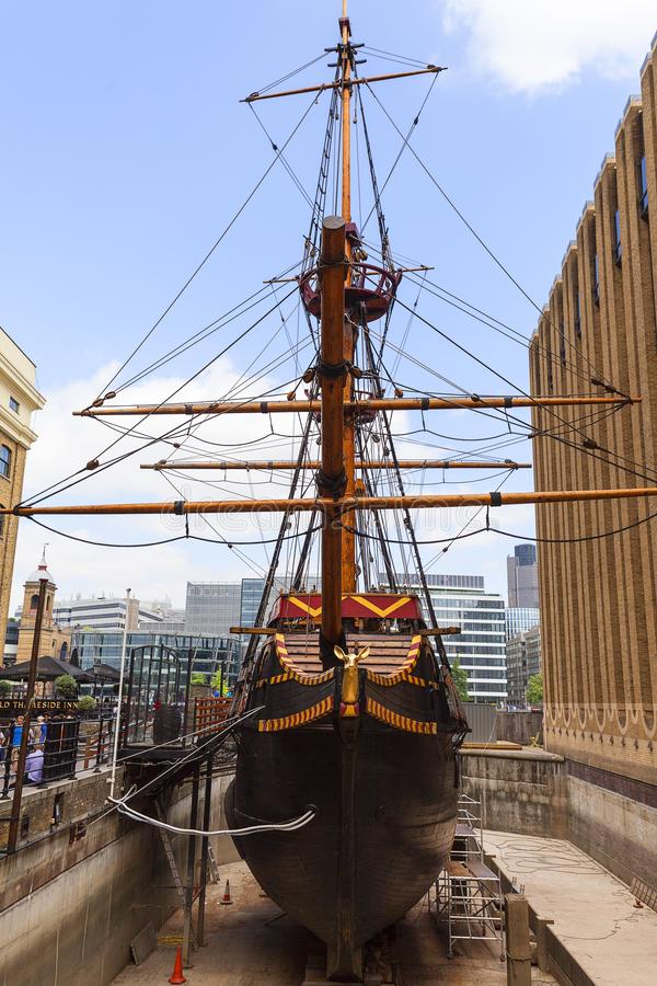 Golden Hind, replica of a 16th century ship in the seafront of St Mary Overie, London, United Kingdom royalty free stock photos