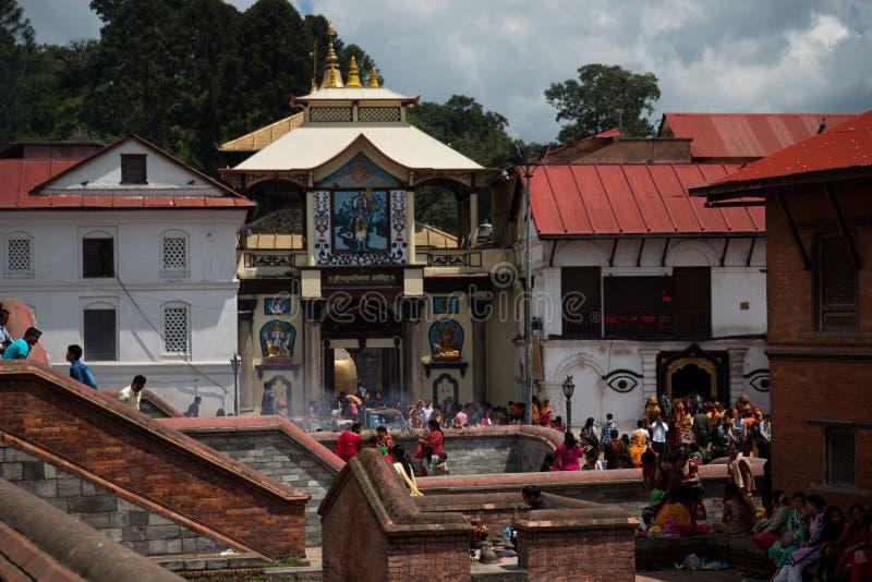 Golden hindu temple Kathmandu. Nepal travel summer royalty free stock photography