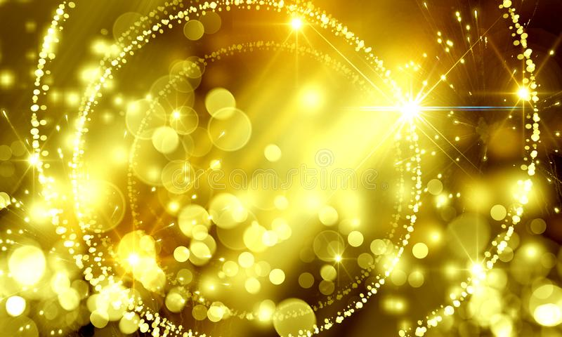 Golden holiday background, blurred, bokeh, defocused, shining, G. Abstract background spot blurred bokeh bright holiday Christmas beautiful frame color royalty free illustration
