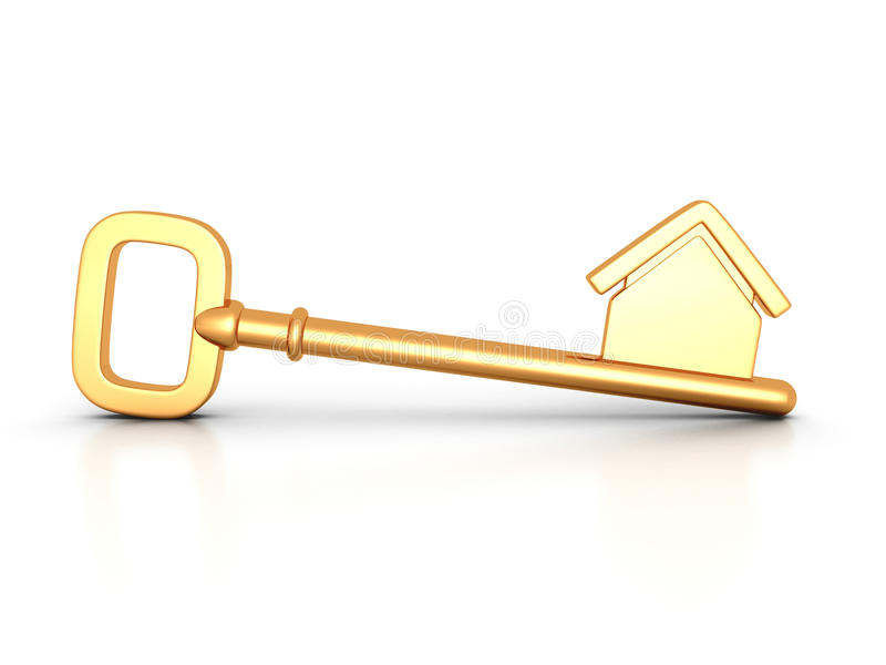 Download Golden Home Key With House Silhouette Stock Illustration - Illustration: 41423890