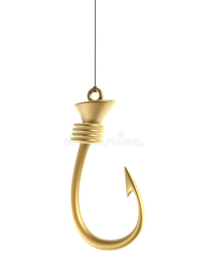 Golden hook. Gold hook isolated on white background vector illustration