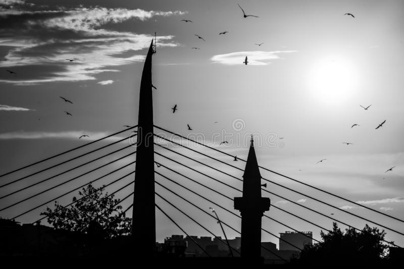 Golden Horn Metro Bridge in Istanbul, Turkey. The Golden Horn Metro Bridge is a cable-stayed bridge along the M2 line of the Istanbul Metro, spanning the Golden stock photos