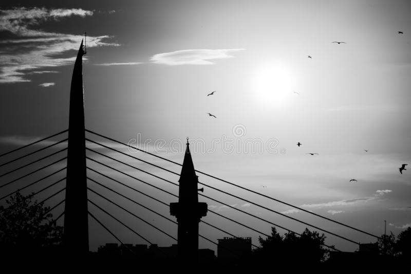 Golden Horn Metro Bridge in Istanbul, Turkey. The Golden Horn Metro Bridge is a cable-stayed bridge along the M2 line of the Istanbul Metro, spanning the Golden stock images