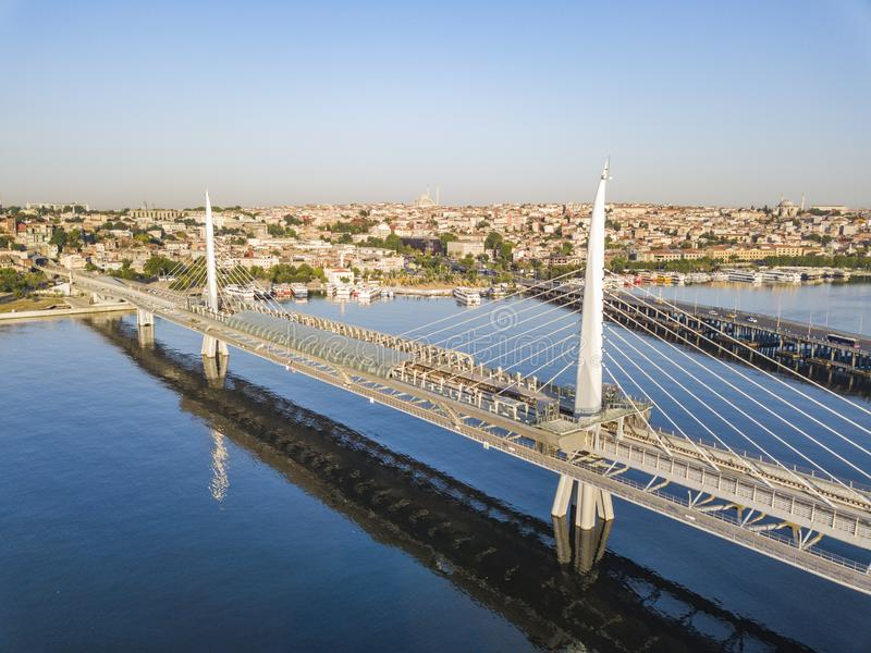 Golden Horn Metro Bridge. Istanbul aerial view. Golden Horn Metro Bridge in Istanbul City, Turkey. Aerial view royalty free stock images