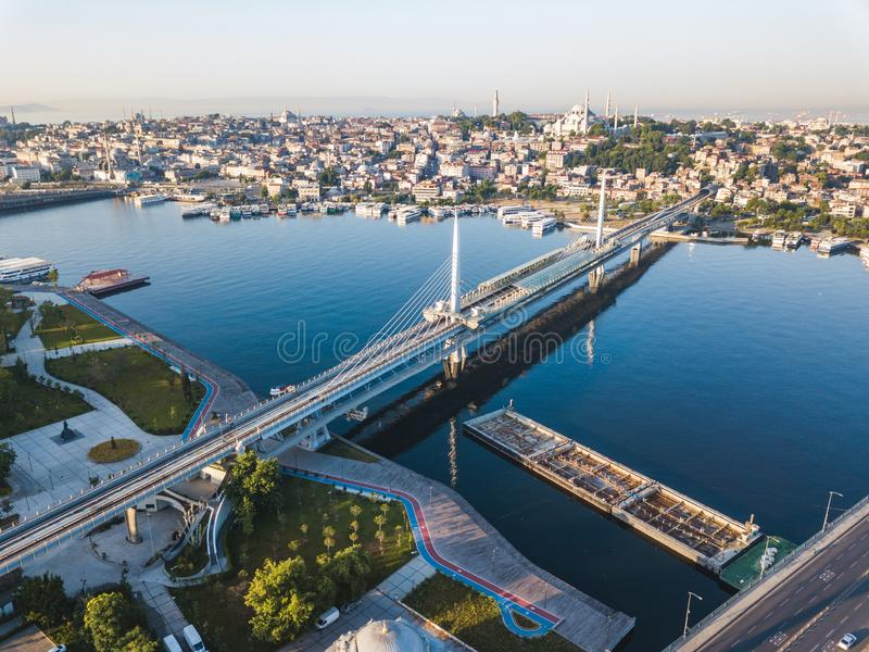 Golden Horn Metro Bridge. Istanbul aerial view. Golden Horn Metro Bridge in Istanbul City, Turkey. Aerial view royalty free stock image