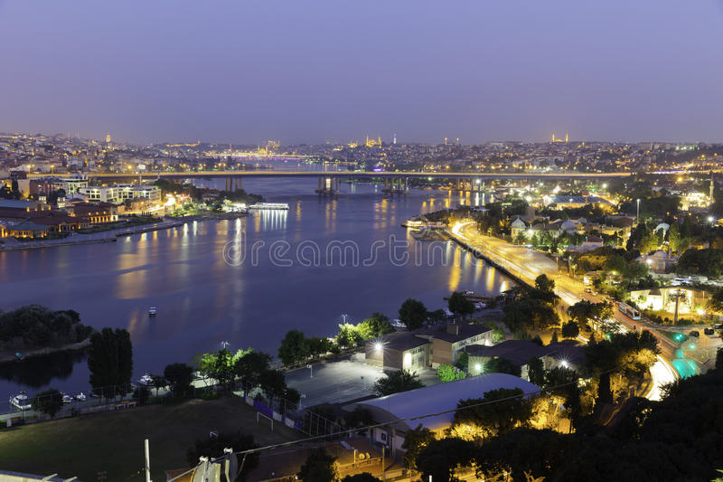 Golden Horn at night Halic in Turkish aerial twilight view stock image