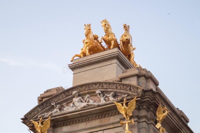 The golden horse figures of the Cascada Monumental in the Ciutadella Park or Parc de la Ciutadella in Barcelona, Spain. The golden horse figures of the Cascada stock images