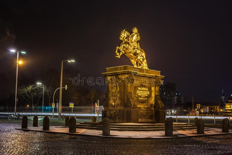 Golden horse `Goldener Reiter`, the statue of August the Strong in Dresden at night, Saxony, Germany stock image
