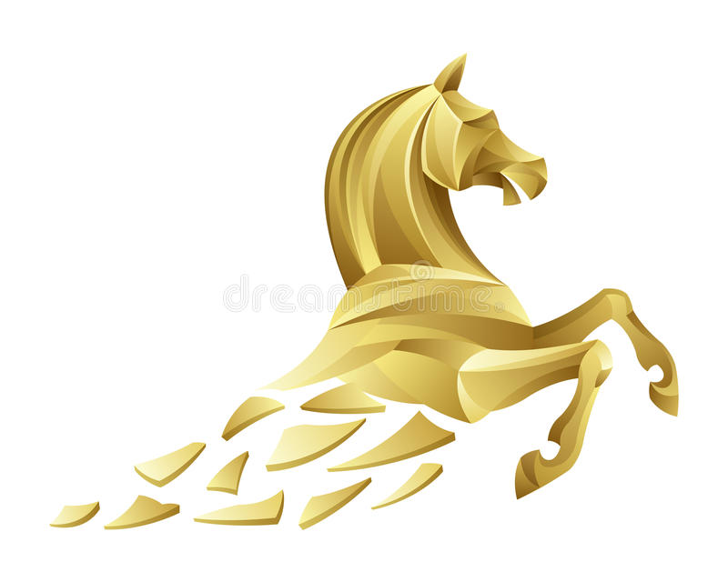 Golden horse. On a white background
