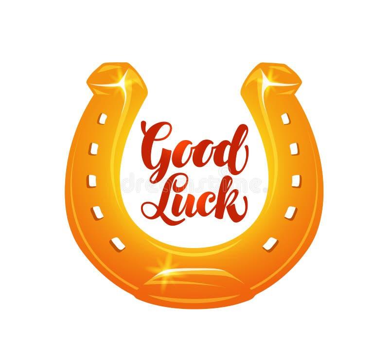Golden horseshoe for luck. Vector illustration royalty free illustration