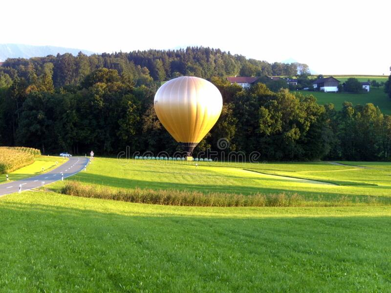 Golden hot air balloon royalty free stock images
