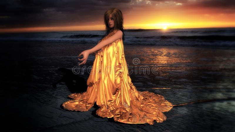 The golden hour. 3D render of a woman wrapped in satin on the beach at sunset
