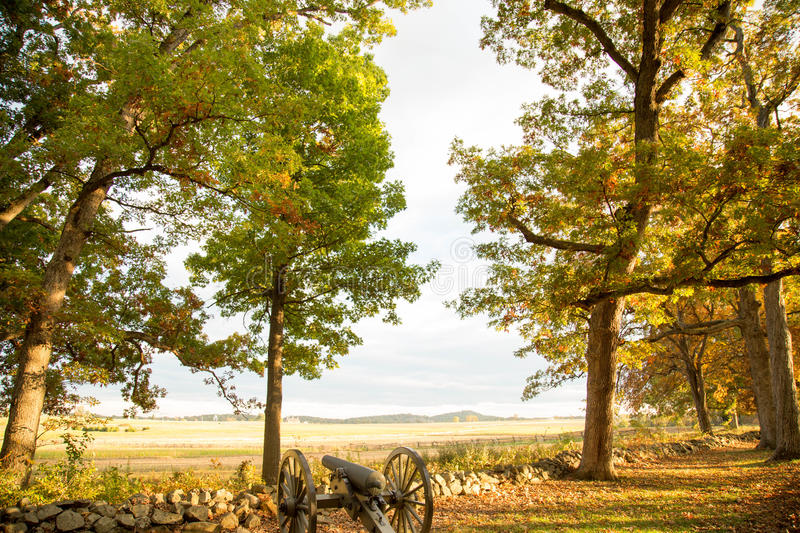 Golden Hour. Is fast approaching at Gettysburg National Military Park. This view if from where the Confederates soldiers were standing royalty free stock photos