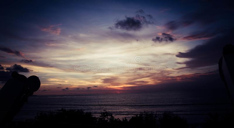 Golden hour in kuta bali. Kuta bali is most beautiful place in indonesia,Kuta Beach is on the western side of the island`s narrow isthmus. It`s considered Bali`s stock photos