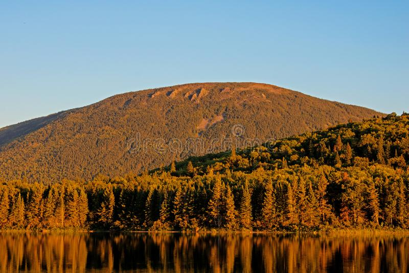 Golden Hour Light On Mount Sagamook. Looking across Big Nictau Lake at Mount Sagamook in Mount Carleton Provincial Park. The location is in the wilderness of stock images