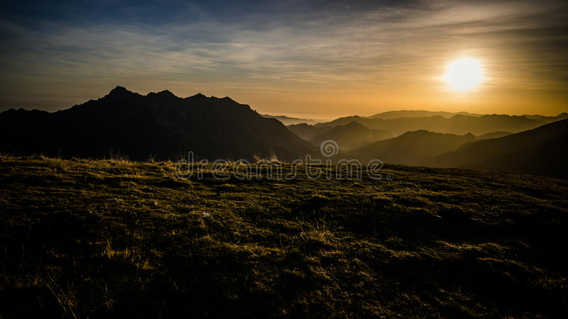 Golden hour. In mountain landscape royalty free stock photography