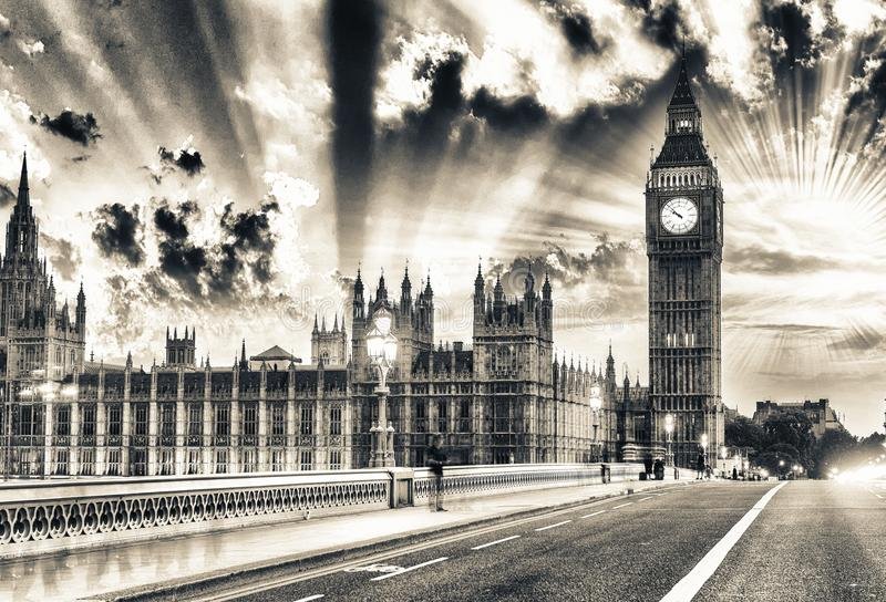 Golden hour over Westminster Palace, London stock image