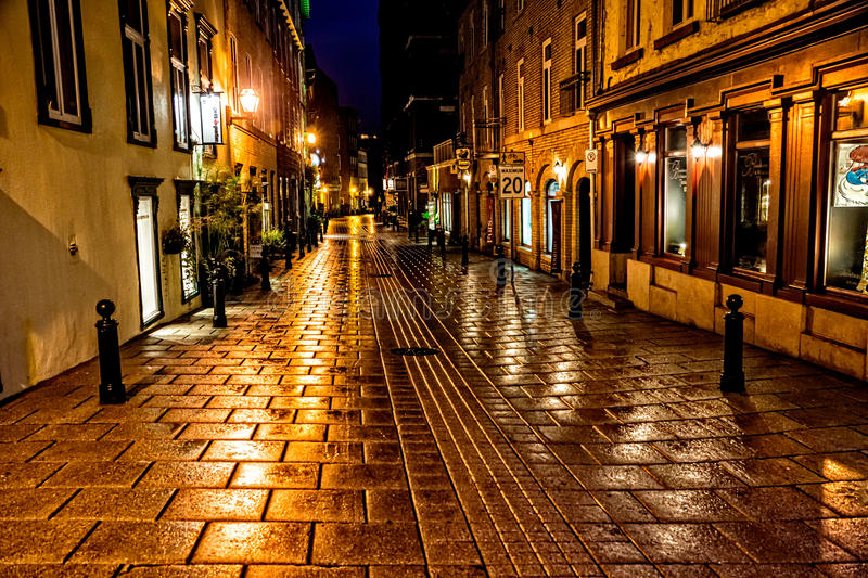 Golden Hour in Quebec City. Quebec City, Quebec, Canada - Sept. 9, 2015: Night brings a romantic character to the old stone buildings of historic Quebec City stock photo