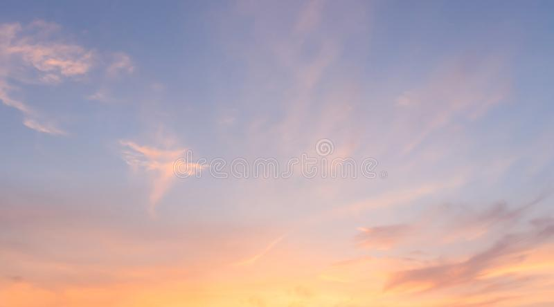 Golden hour sky  without sun. Evening sky with sunset. Orange sky background. Blue and orange color sky stock images