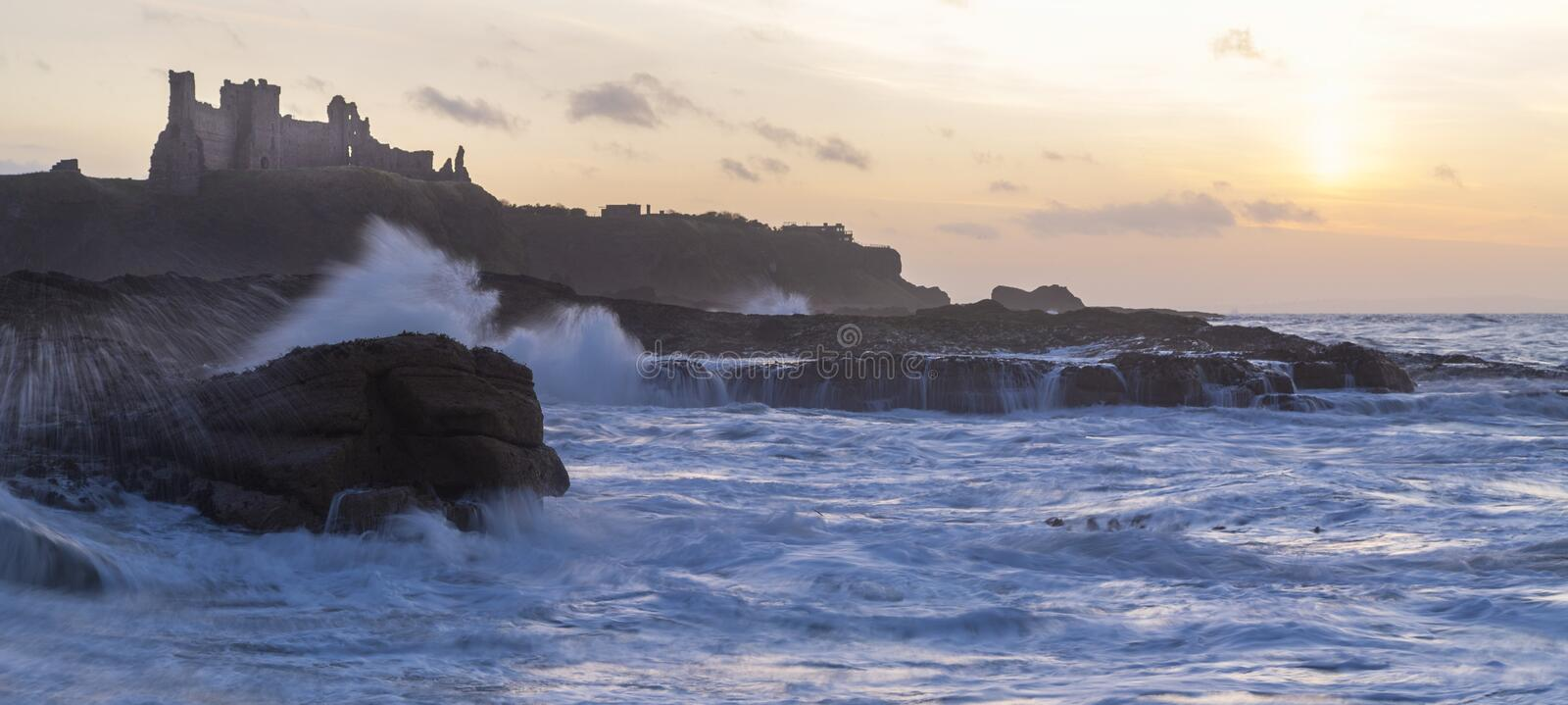 Golden hour, tantallon castle with rough seas. Golden hour, Tantallon castle in Scotland with rough seas at sunset royalty free stock photo