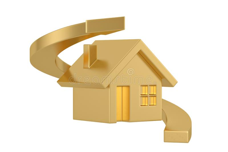 Golden house and arrow isolated on white background, 3D illustration.  vector illustration