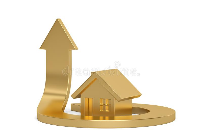 Golden house and arrow isolated on white background, 3D illustration.  stock illustration