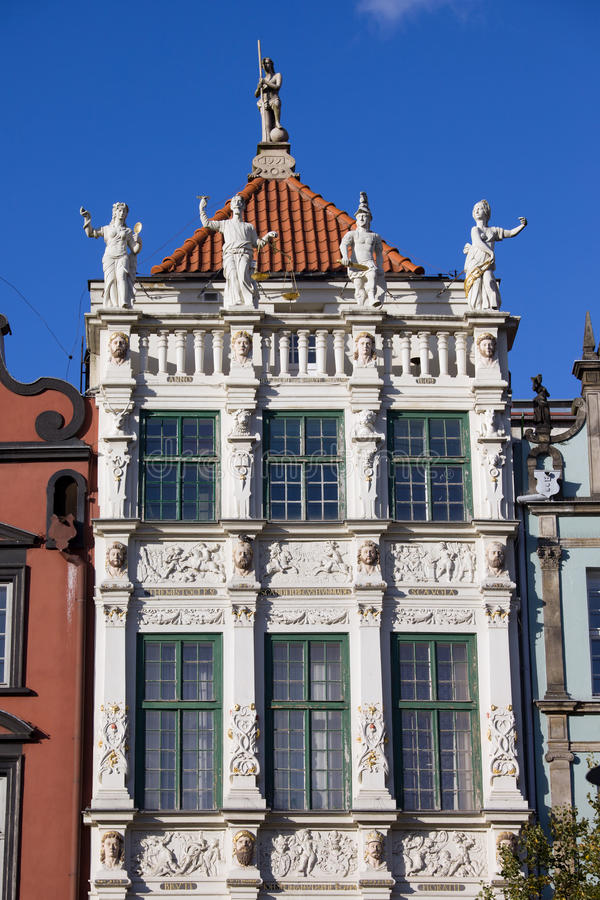 Golden House in Gdansk. Ornamental facade of the Golden House (Polish: Zlota Kamienica) in the Old Town of Gdansk (Danzig), Poland stock photo