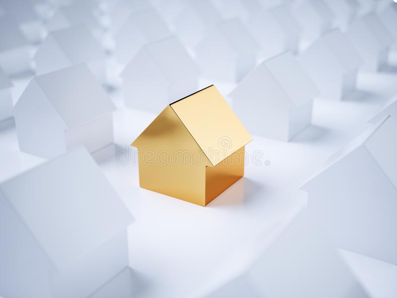 Golden house in group with white houses royalty free illustration
