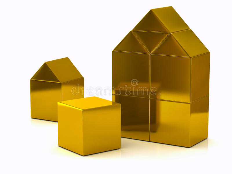 Golden house made of blocks 3d vector illustration