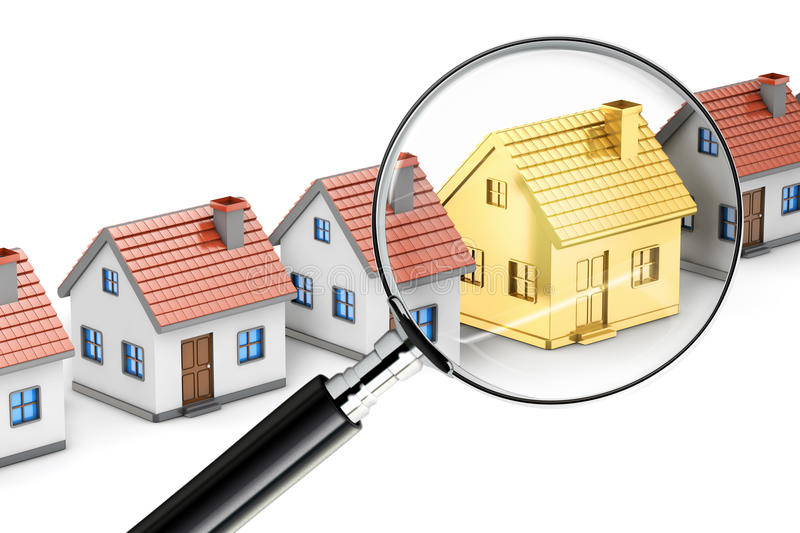 Golden house search magnifying glass royalty free illustration